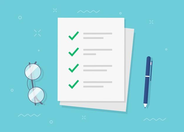 Om een taak uit te voeren, vink je lijst vinkjes aan als een vel papier op een plat bureau Premium Vector