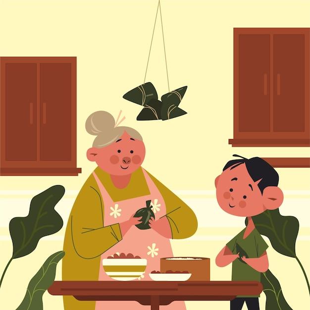 Oma en kind die zongzi voorbereiden Gratis Vector