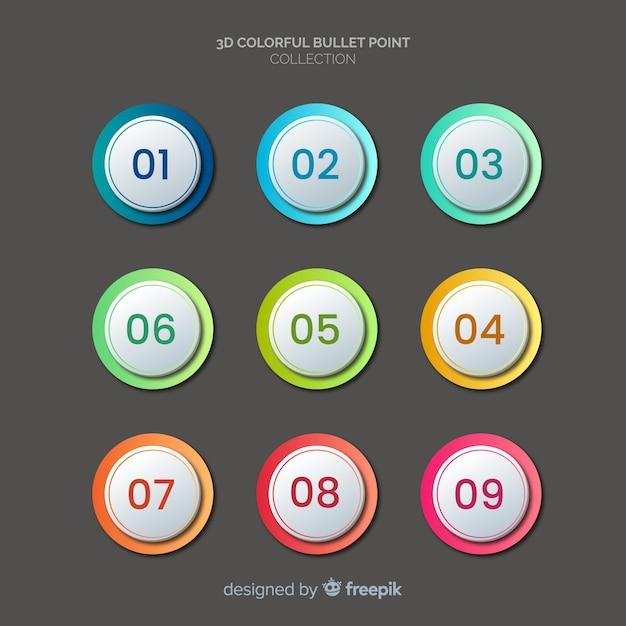 Omcirkelde bullet punt verzameling Gratis Vector