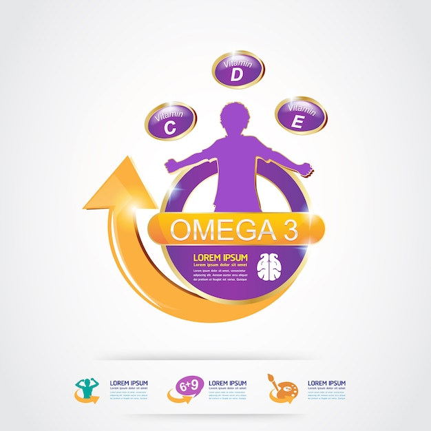 Omega 3 vitaminen voor product voor kinderen logo concept Premium Vector
