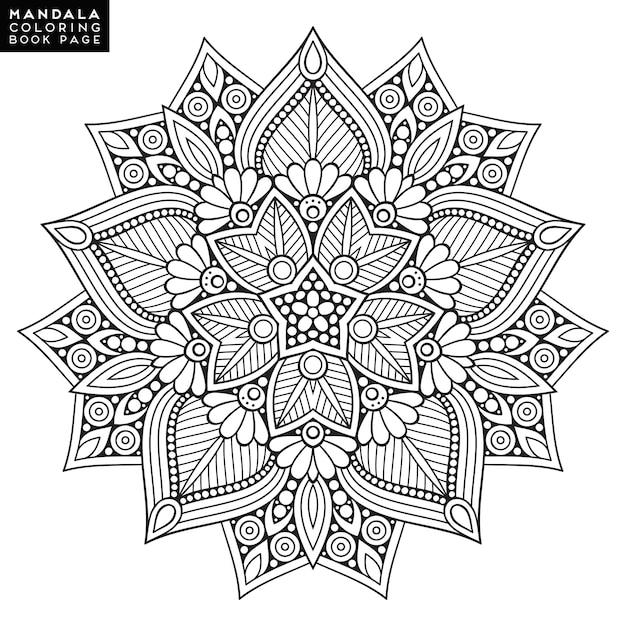 Omschrijving mandala voor kleurboek. decoratief rond ornament. anti-stress therapie patroon. weef ontwerpelement. yoga logo, achtergrond voor meditatie poster. ongewone bloemvorm. oosterse vector. Gratis Vector