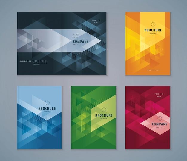 Omslag boek ontwerpset, driehoek achtergrond sjabloon brochures Premium Vector