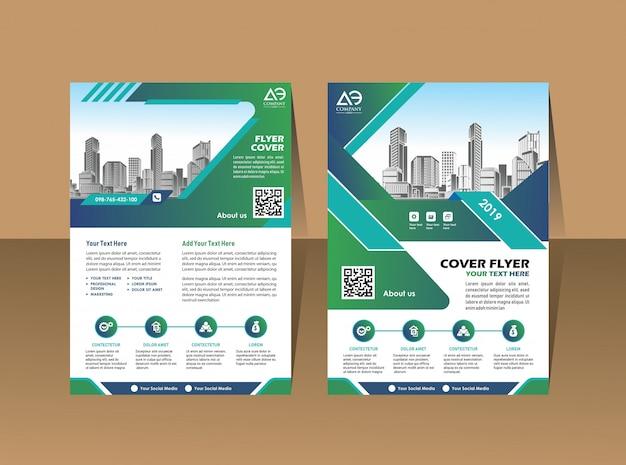 Omslagsjabloon a4 formaat brochureontwerp jaarverslag Premium Vector