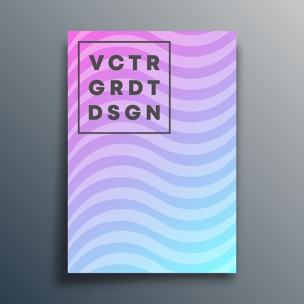 Omslagsjabloon met golvende lijnen voor flyer, poster, brochure, typografie of andere printproducten. illustratie Premium Vector