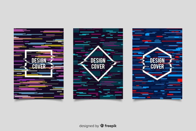 Omvat ontwerp met kleurrijk glitch effect Gratis Vector