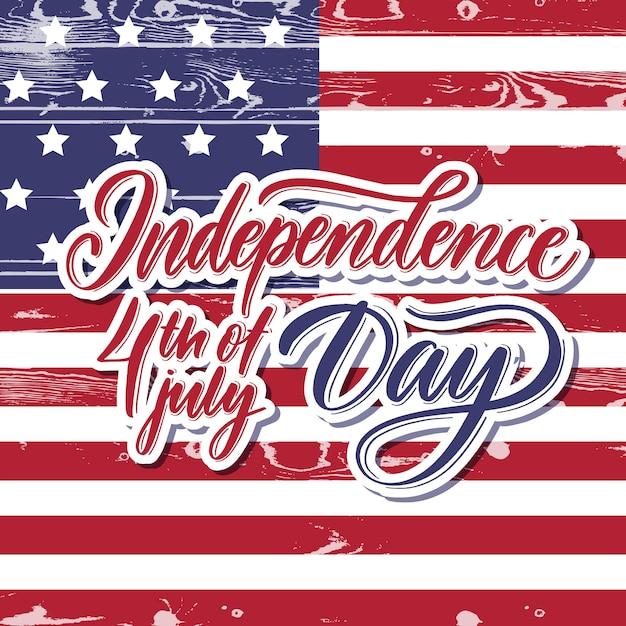 Onafhankelijkheid 4 juli belettering kaart. Premium Vector