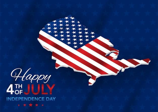 Onafhankelijkheidsdag 4 juli met kaart Premium Vector