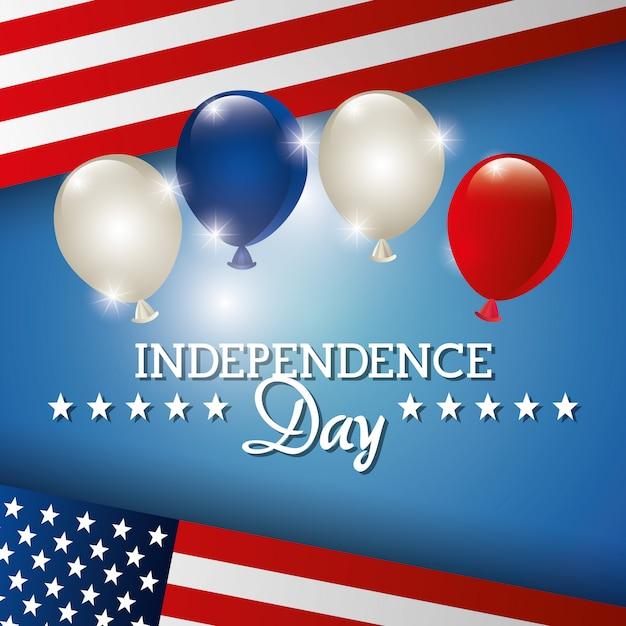Onafhankelijkheidsdag 4 juli viering in de verenigde staten van amerika Gratis Vector