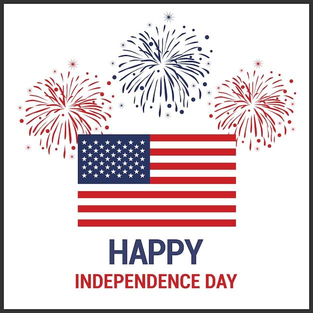 Onafhankelijkheidsdag achtergrond en badge logo met amerikaanse vlag Gratis Vector
