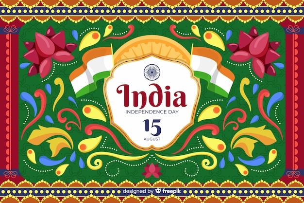 Onafhankelijkheidsdag achtergrond in indiase kunststijl Gratis Vector