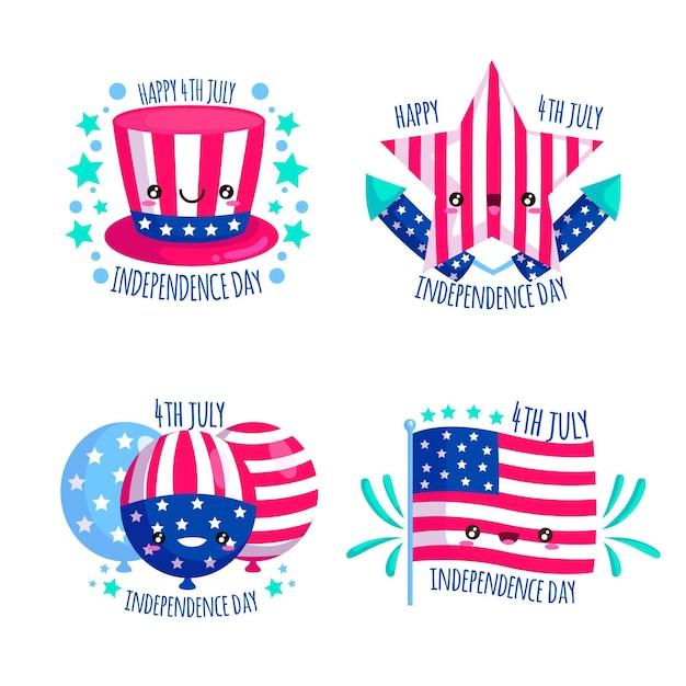 Onafhankelijkheidsdag badges pack Premium Vector