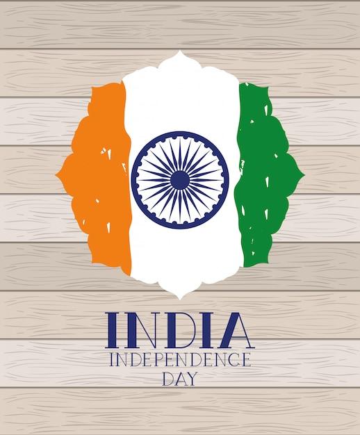Onafhankelijkheidsdag indiase vlag Gratis Vector