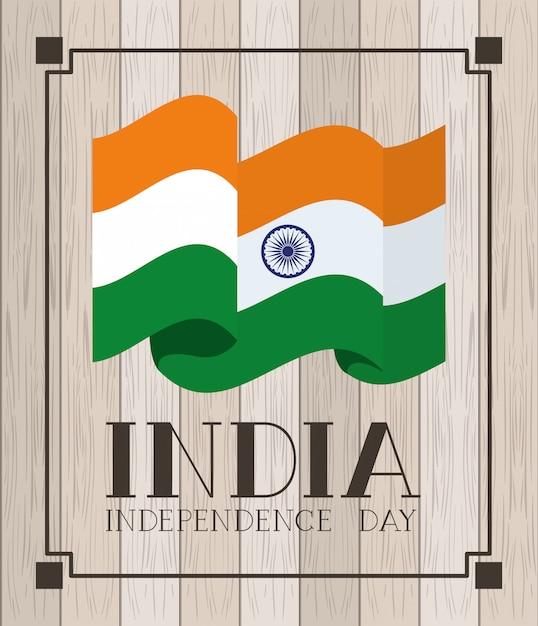 Onafhankelijkheidsdag indische vlag met houten Gratis Vector