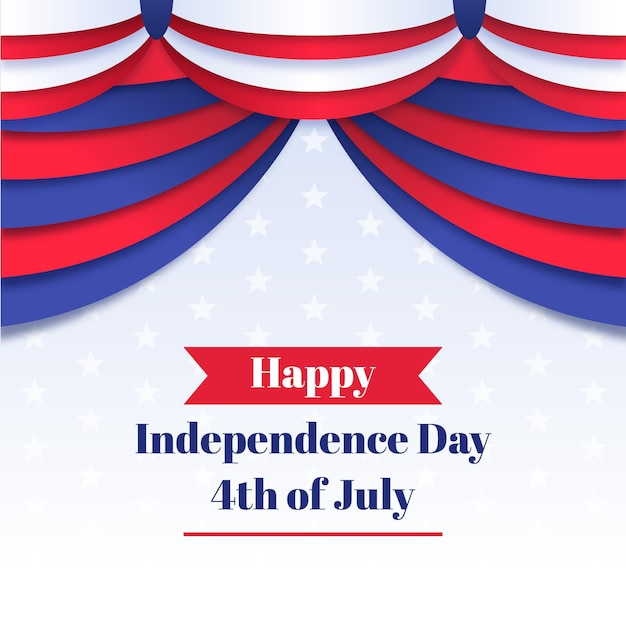 Onafhankelijkheidsdag met gordijn Gratis Vector