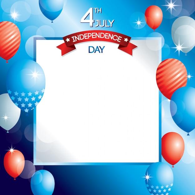 Onafhankelijkheidsdag ontwerp van de verenigde staten van amerika Premium Vector