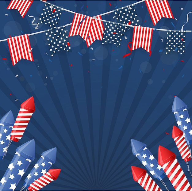 Onafhankelijkheidsdag van amerika met confettien en lintachtergrond Premium Vector