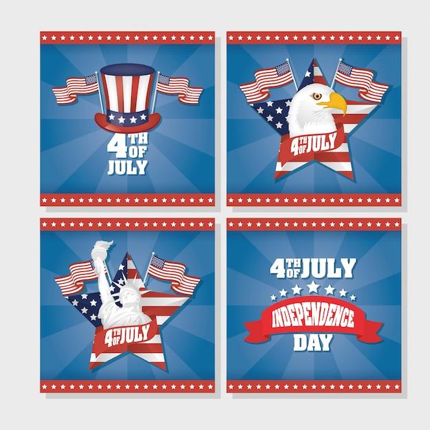 Onafhankelijkheidsdag van de verenigde staten met vlag in vastgestelde pictogrammen Premium Vector