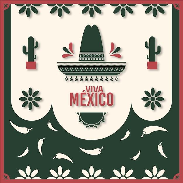 Onafhankelijkheidsdag van mexico in papierstijl Gratis Vector