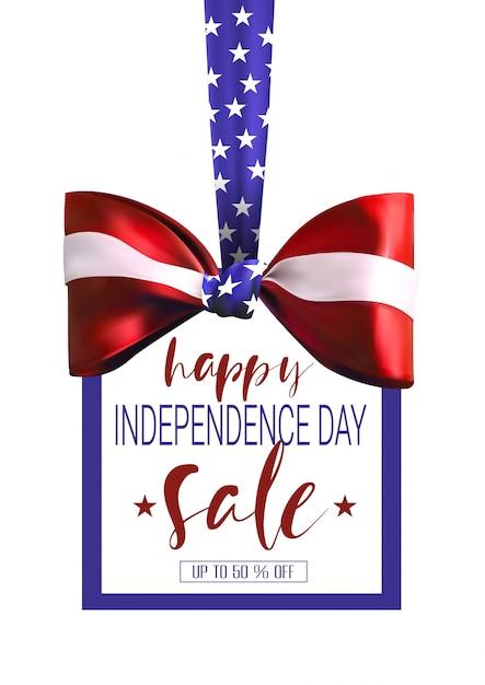 Onafhankelijkheidsdag verkoop banner met boeg en amerikaanse vlag kleuren Premium Vector