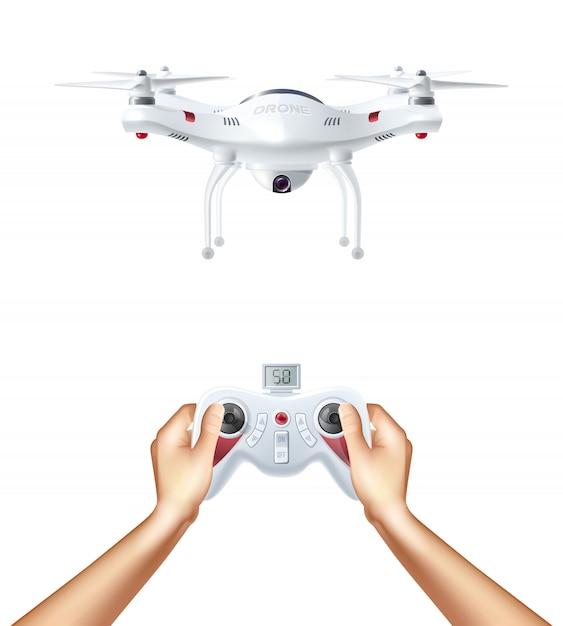 Onbemande drone met afstandsbediening Gratis Vector