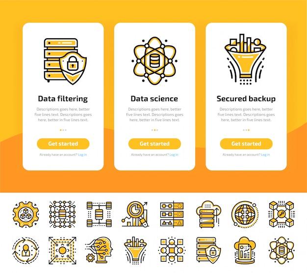 Onboarding app-schermen van data science technologie en machine learning proces icon set Premium Vector