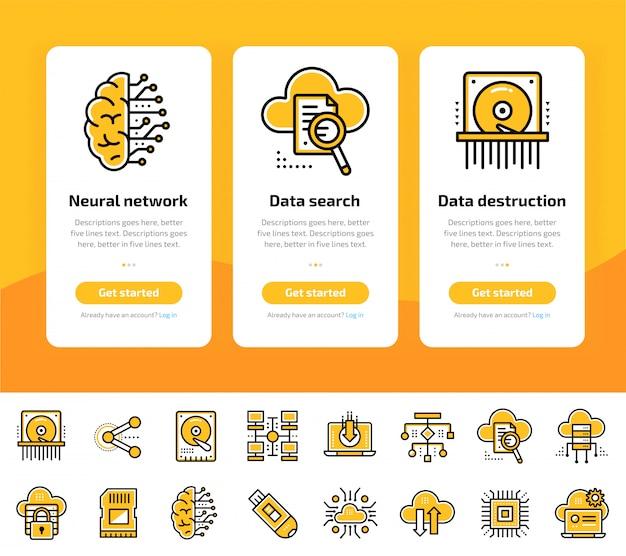 Onboarding app-schermen van gegevensverwerking, internettechnologie en gegevensbeveiligde icon set Premium Vector