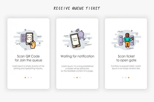 Onboarding-schermen ontwerpen in ticketconcept voor wachtrijen. hoe wachtrij te ontvangen. Premium Vector