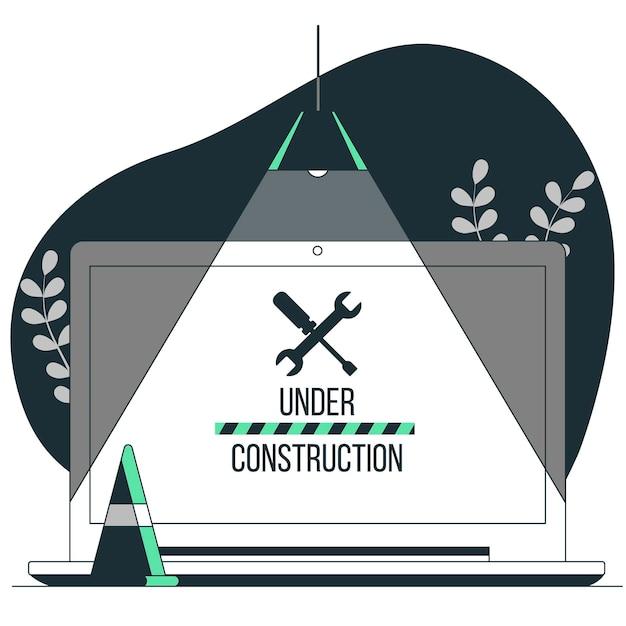Onder constructie concept illustratie Gratis Vector