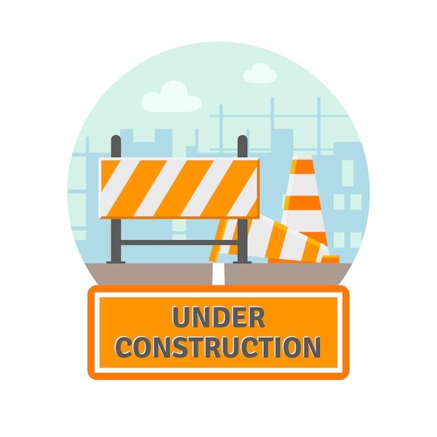 Onder constructie platte pictogram Gratis Vector