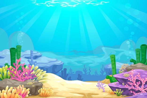 Onder de zee blackground Premium Vector