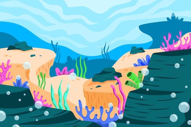 Onder de zee wallpaper voor video-oproep Gratis Vector