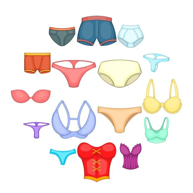 Ondergoed iconen set, cartoon stijl Premium Vector