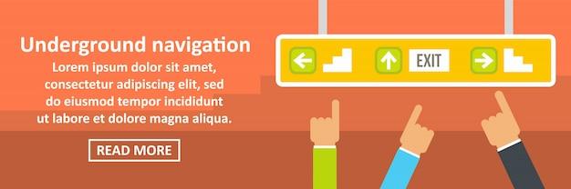 Ondergrondse navigatie banner horizontaal concept Premium Vector