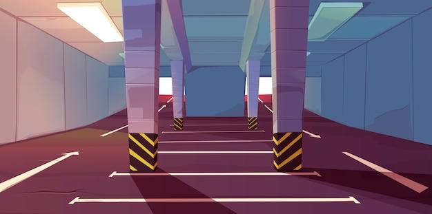 Ondergrondse parkeergarage met lege plaatsenmarkering Gratis Vector