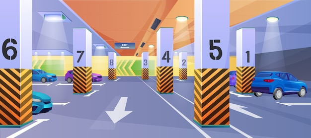 Ondergrondse parkeerplaats achtergrond Premium Vector