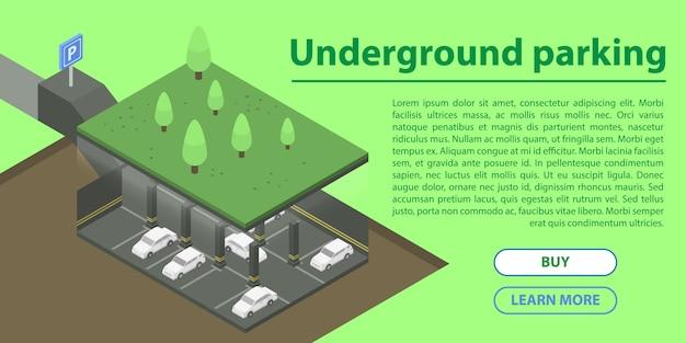 Ondergrondse parking concept banner, isometrische stijl Premium Vector