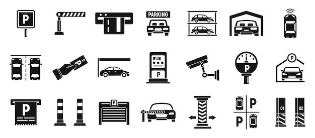 Ondergrondse parking iconen set, eenvoudige stijl Premium Vector