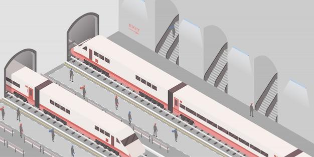 Ondergrondse spoorweg Premium Vector