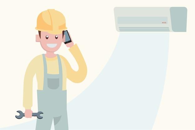 Onderhoudsconcept airconditioner Premium Vector