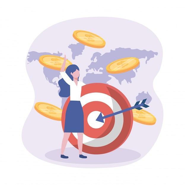 Onderneemster en doel met pijl en muntstukken met globale kaart Gratis Vector