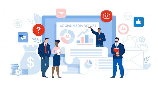 Ondernemers en sociale media presenteren Premium Vector