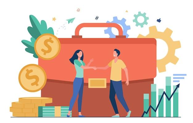 Ondernemers financieren of investeren van geld en handshaking platte vectorillustratie. cartooninvesteerders die krediet nemen voor investeringen. partnerschap, geldtransactie en bedrijfsuitdagingsconcept Gratis Vector