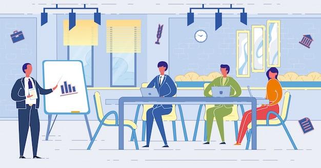 Ondernemers in een vergadering op kantoor Premium Vector