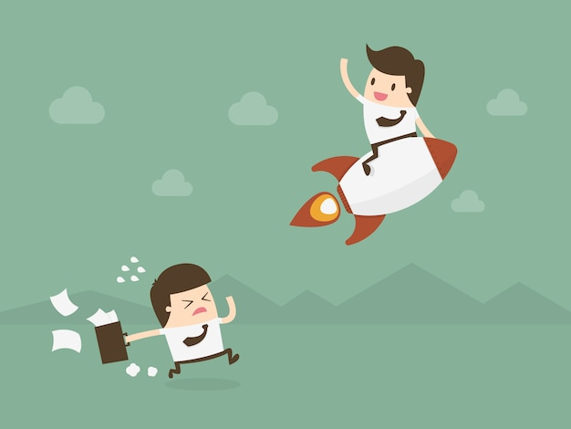 Ondernemers met een raket Gratis Vector