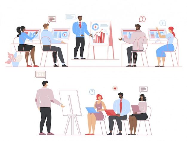 Ondernemers op vergadering, briefing, coaching set Premium Vector