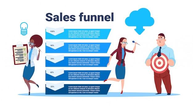 Ondernemers team houden leeg formulier enquête doel pijl data cloud verkoop trechter met stappen stadia zakelijke infographic. aankoop diagram concept Premium Vector