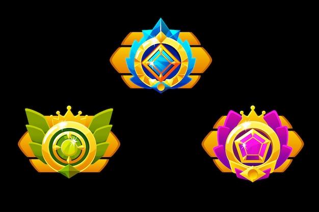 Onderscheidt medailles voor gui game. gouden sjabloontoekenning met juwelen. Premium Vector