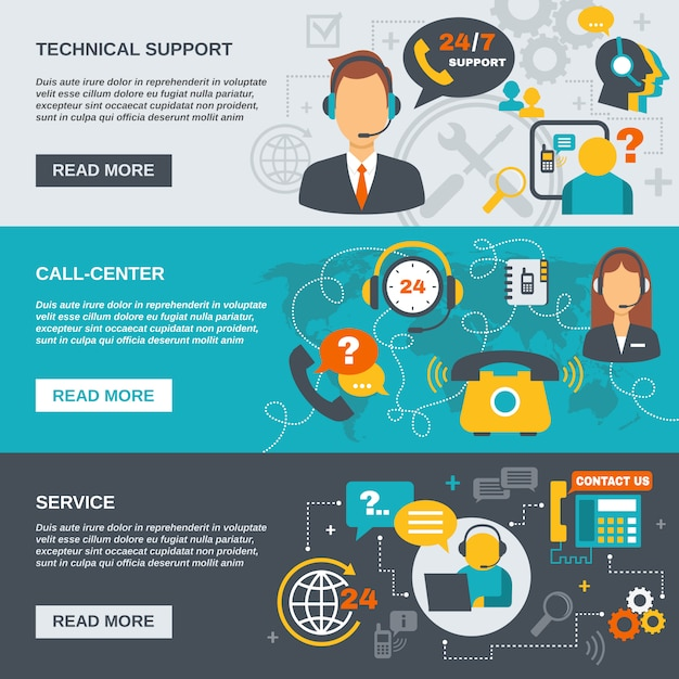 Ondersteuning call center banner Premium Vector