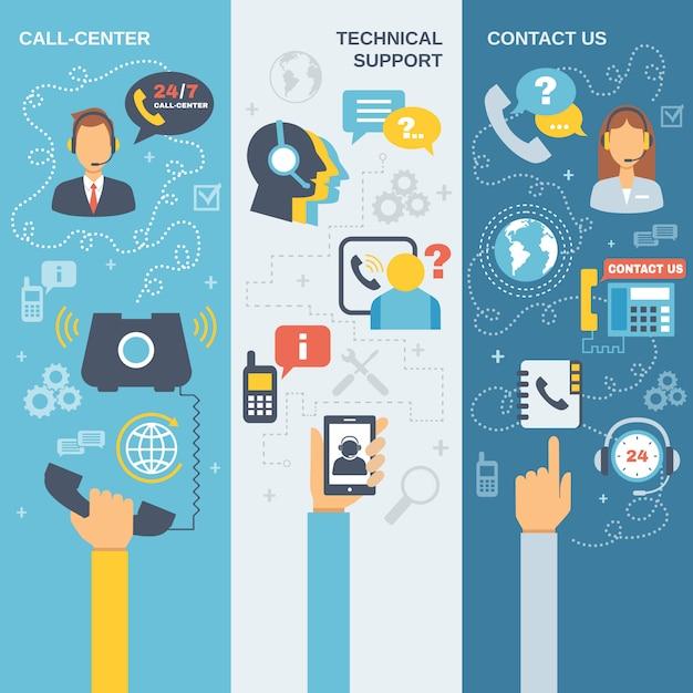 Ondersteuning call center banner Gratis Vector
