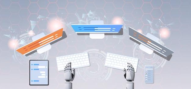 Ondersteuning chat bot robot handen met behulp van computer en mobiele applicatie virtuele assistentie online Premium Vector
